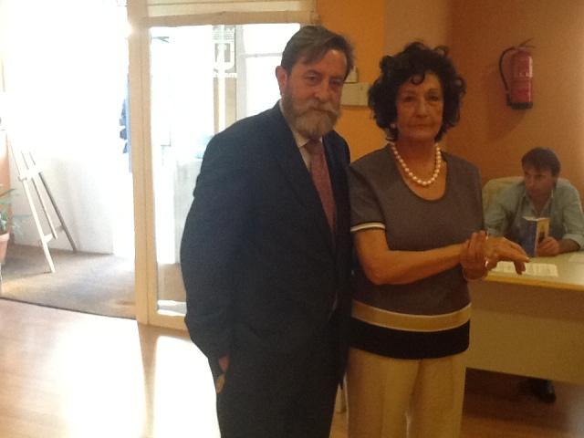 Presidente de Pintores y Escutoras de España  Don J.G. Astudillo y Presidenta de Asociación Nacional De Artistas