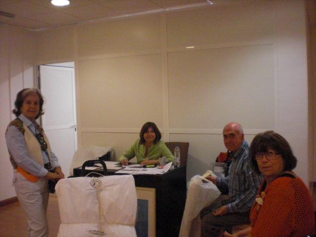 Marina Isabel,licenciada en Bellas Artes,Angeles Gil,nuestra secretaria.Joaquin Alarcón pintor y Tomi Caballero pintora