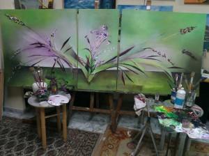 Tres cuadros que forman uno solo .LOs estoy pintando , pero disfruto lo mio inventando  tienenmucho trabajo